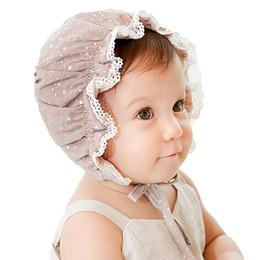 Wholesale Infant Summer Bucket Hats - Baby Princess Hat Girls Fashion Bucket Hats New Cute Infant Baby Bonnet Cotton Bronzing SunHat Children Caps