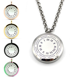 Wholesale clock locket necklaces - Stainless Steel Perfume Locket Clock Design Necklace Aromatherapy Locket Jewelry For Gift Magnetic Locket Essential Oil Diffuser Necklace