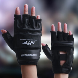 Wholesale Training Boxeo - Kids Adult Half Finger Fight Boxing Boxeo MMA Muay Thai Kick Training crossfit Gloves Mitts Sanda Karate TKD Protector