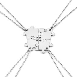 Wholesale Heart Jigsaw Necklace - Wholesale-4 Pieces Silver Color Interlocking Jigsaw Puzzle Pendants With Hearts Necklace Mother Necklace Family Necklace Best Friend Gifts