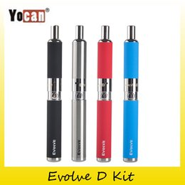 Wholesale Ego Dual Starter Kits - Original Yocan Evolve-D Starter Kit dry herb pen Vaporizer with Pancake Dual Coils 650mAh Battery ego thread atomizer 100% genuine 2204022