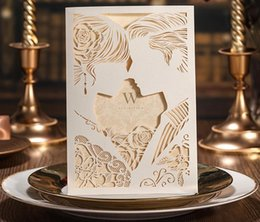 Wholesale Cut Out Bride Groom - Beige Laser Cutting Wedding Invitations Card with Envelope Seal Sticker Wedding Favor Supplies Hollow Out Bride & Groom 50Pcs CW010