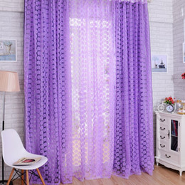 Wholesale Living Room Valance Curtains - Promotion Rose Flowers Pattern Window Voile Curtain 100 * 200 CM Living Room Tull Valance Home Decoration Curtain P17