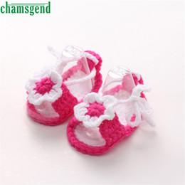 Wholesale Knitted Baby Shoe Flower - Wholesale- CHAMSGEND Best Seller Crib Crochet Casual Baby Girls Handmade Knit Sock Flower Infant Shoes S35