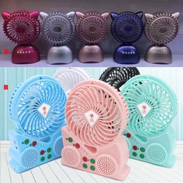 Wholesale Rotary Speaker - 2017 Bluetooth Speaker Fan USB Smart Portable Fans Model Creative Two-in-one Mini Audio Bluetooth Connection Gift