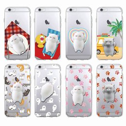 Wholesale Wholesale Sleeping Kitty - Sleeping Cat Kitty Squishy Cartoon Animals Seal Relieve Anxiety Soft Phone Case For iPhone 7 7Plus 6 6S 6Plus 5 5S SAMSUNG
