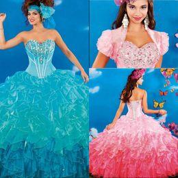 2019 vestidos 15 cor coral Multi Color 2017 Quinceanera Vestidos de Strass Puffy Saias Doce 16 Vestidos Para 15 Anos Princesa Estilos Vestidos De 15 Anos vestidos 15 cor coral barato