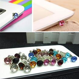 Wholesale Anti Dust Earphone Jack Plug - Universal 3.5mm Crystal Diamond Anti Dust Plug Dustproof Earphone Jack For Iphone 5 6s 6s plus Smartphone