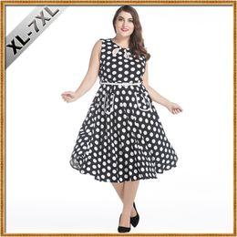 Wholesale Dress For Fats - Women Oversize Clothing 7XL Retro Fashion Hepburn Style 50s Vintage Dress Wave Point Plus Size Dress for Fat Women