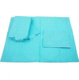 """Wholesale Disposables Bibs - 125pcs 13""""X18"""" Blue Tattoo Cleaning Wipes Disposable Dental Piercing Bibs Waterproof Sheets 3-ply Paper Tattoo Accessories"""