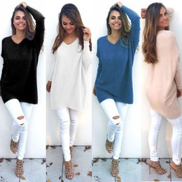 Wholesale Chunky Sweaters - Womens V Neck Chunky Knitted Oversized Baggy Long Sleeve Pullover Sweater Sweatshirt Ladies Jumper Tops Blouse Dress