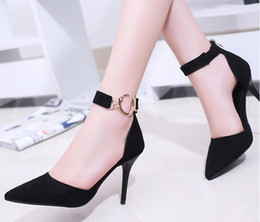 Wholesale Small Heel Shoes Suede - 2017 new type of pointed shoes with a small side of the side of the high-heeled shoes thin thin metal single buckle shoes