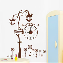 Wholesale Tree Wall Clock - Personality creative tree tree clock pattern wall stickers living room bedroom children's room TV sofa background decorative stickers