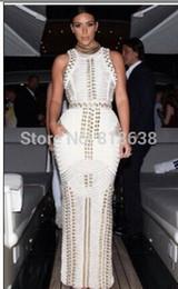 Wholesale bandage dress kim kardashian - Wholesale- 2017 summer women Sexy Bodycon black white sleeveless studded beaded long maxi rayon Bandage Dress Celebrity kim kardashian