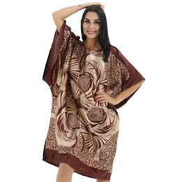 Wholesale Kaftan Dresses Wholesale - Wholesale- Sexy New Ladies' Satin Nightgown Robe Dress Women's Summer Loose Nightdress Novelty Printed Bath Gown Kaftan Plus Size 0710