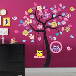Wholesale Modern Yellow Glass - pvc fashion Creative DIY wall sticker kids bedroom decoration Carved Removable Owl swing colorful big tree art Sticker Decor 2017 Wholesale