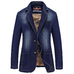 Wholesale Fitted Denim Blazer - Wholesale- Autumn Men's Brand Clothing Denim Blazers Jacket Plus Size M~4XL Jeans Coat Slim Fit Casual Overcoat 169