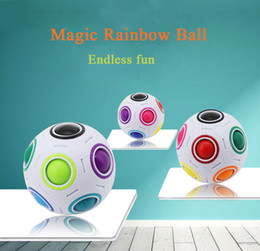 Wholesale Shapes Toys - Infinite Rainbow White Football Spherical Ball Shaped Magic Cube Speed Puzzle Toy Gift Decompression Square Antistress Resistance Anxiety