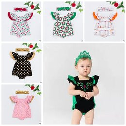 Wholesale Arrow Flowers - Baby Clothes Girls Romper Headband Suits Girls Floral Onesies Hairband Baby Fashion Arrow Bowknot Jumpsuit Kids Flower Summer Outfits J501