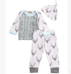 Wholesale Cute 24 Month Boys Clothes - baby boy clothes Christmas Outfits Toddler 3pcs Suits Autumn Long Sleeve Cotton Tops+Deer Long Pants Infant Clothing Sets 7477