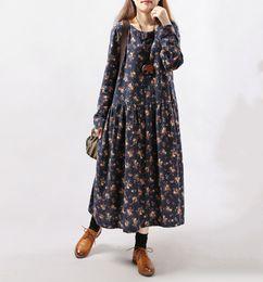 Wholesale Brown Maxi Dress Sleeves - 2017 New Style Autumn Winter Women Dresses Vintage Print Casual Long Sleeve Cotton Linen Maxi Dress Swing Floral Big Size Dress