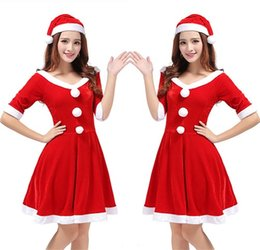 Wholesale Uniform Dress Wholesale - Santa Costume Dress Christmas Clothing Female Adult Halloween Role Playing The Uniform Suits Sexy Fancy Dress