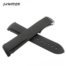 bracelet univers Promotion Bracelet de montre JAWODER 20 22mm noir Bracelet de montre en caoutchouc de silicone étanche à la plongée avec boucle en argent pour l'univers marin hippocampe