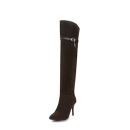 Wholesale Korean Thigh High Boots - 2018 fashion high and Korean women's boots winter trend sexy knee-length women's shoes high quality production size 34-43