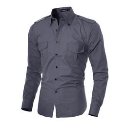 Wholesale Mens Designer Shirts Wholesale - Wholesale- Casual Shirt Men Long Sleeve Slim Fit Social Solid Red Shirt Funny Black Shirt Designer Mens Clothes Camisa Masculina 5842