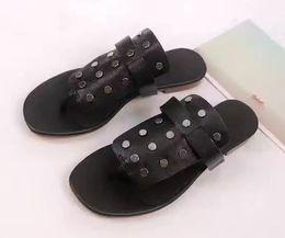 Wholesale Thong Cool - Letu174 Unisex Cool Footwear Flip Slippers Stud Rivets Black Genuine Leather Summer Beach Flip Flops Thong Sandals Shoes Women Sz 35-39