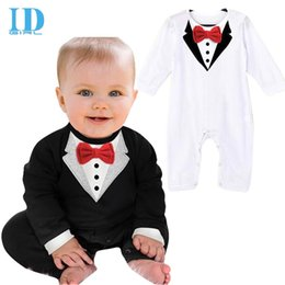 Wholesale Baby Boy Body Suits - IDGIRL Baby Romper Gentleman Style Baby Boys Romper Modelling Infant Long Sleeve 3D Printing Vest Clothes Kids Body Suit JY035