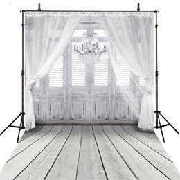Wholesale Grey Vinyl - Vinyl Fabric Indoor Chandelier Backdrop White Grey Wood Door Floor Photography Background Soft Curtain Baby Shower Newborn Shoot Props