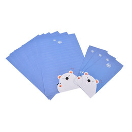 Wholesale Stationery Letter Paper Set - Wholesale- Cartoon Animals Collection Pad Letter Paper With 6 sheets Envelope letter paper+3 pcs envelopes per set writing paper Stationery