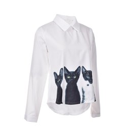 Wholesale Long Sleeve Cat Blouses - Free shipping Fashion Cats Printed Pullover Shirts Long Sleeve Casual Women Korean White Blouse Hot Spring,Autumn,Summer S M L XL