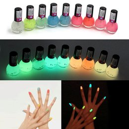 Wholesale Neon Nail Polish Colors - Wholesale- QiBest 2Pcs Candy Colors Nail Lacquers Fluorescent Luminous Neon Glow In Dark Varnish Nail Art Polish Enamel