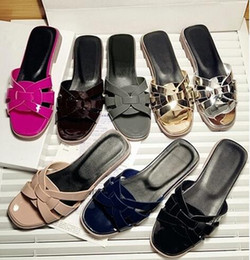 Wholesale Lady Shoes Style - Luxury Brand new style high quality Patent leather women sandals flat heel shoes ladies flats shoes flip flops slippers shoes