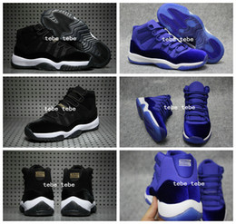 Wholesale Womens Discount Basketball Shoes - Retro 11 Low Velvet Heiress Blue Black Mens Womens Basketball Shoes Athletics Sports Shoes Discount Sports Women Mens Air Retro 11s Sneakers