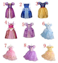 Wholesale Purple Chiffon Dress Sleeves - 9color Beauty and the beast belle princess dress girl purple rapunzel dress Sleeping beauty princess aurora flare sleeve dress