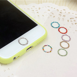 Wholesale Iphone Crystal Buttons - Bling diamond Crystal Touch ID Home Button Sticker For iPhone 5 5S 6 6S Plus 7 7Plus With Fingerprint Support Identification
