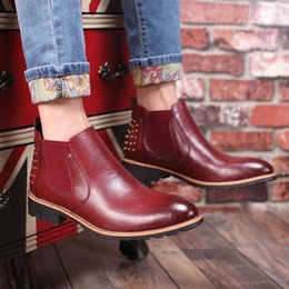 Wholesale cowboy ankle boots for men - Vintage Leather Chelsea Men Leather Martin Boots British Style Men's Ankle Boot for Autumn Winter Male Dress Shoes