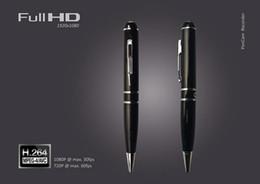 Caneta de câmera 8g on-line-Full HD 1080 P Mini caneta pinhole câmera 8 GB 16 GB portátil Pen DVR Camera pen gravador de voz Com Detecção De Movimento HDMI Port Preto