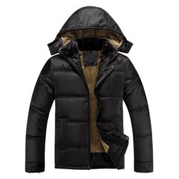 Wholesale Middle Age Men Jacket - Wholesale- autumn winter loaded plus thick velvet big size men's cotton padded jacket warm coat male parkas for middle-aged men and father