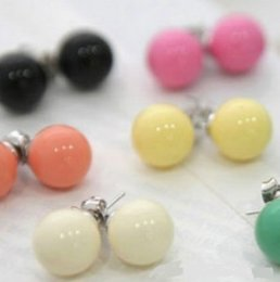 Wholesale Ball Earring Candy - Mixed Lots Pearl Stud Earrings Lovely candy Colors Hot Sale Big ball Earrings fashion wedding prom Jewelry