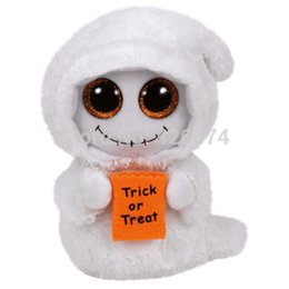 Wholesale Ghost Boo Plush - Wholesale- New TY Beanie Boos Big Eyes Stuffed Animals Halloween Mist White Ghost Kids Plush Toys For Children Gifts 15CM