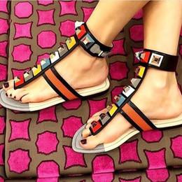 Wholesale Pink Rhinestone Sandals - 2017 New Rainbow Color Rhinestone Summer Flat Shoes Women Gladiator Sandals Brand Designer Rivets Sandals summer Flip-Fops Shoes