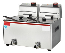 Wholesale Double Fryer - Electric Deep Fryer 2*3.5kw Stainless Steel Chip Fryer Double Tanks with Oil Filter System Price Hot Sale