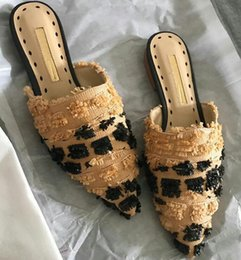 Wholesale Fringe Heels - 2017 Nude Straw Slipper Women Pointed Flat Muller Shoes Woman Fashion Fringe Tassel Gladiator Sandals Woman