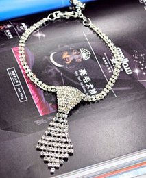 Wholesale Dogs Leash Bling - 5043# Pet Products Dog Charm Pet Necklace Dog Necklace Rhinestone Tie Bling Bling Doggie Boutique