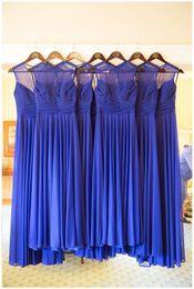 Wholesale Chiffon B - A B C 3 Styles Bridesmaid Dresses Real image Wedding guest 2017 Pleated Sleeveless Chiffon Peach Blue Bridesmaids Gowns Under $100