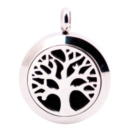 Wholesale Gifts Family Tree - Family Trees 25mm Diffuser 316 Stainless Steel Necklace Pendant Aroma Locket Essential Oil Diffuser Lockets Free 100pcs Felt Pads As Gift